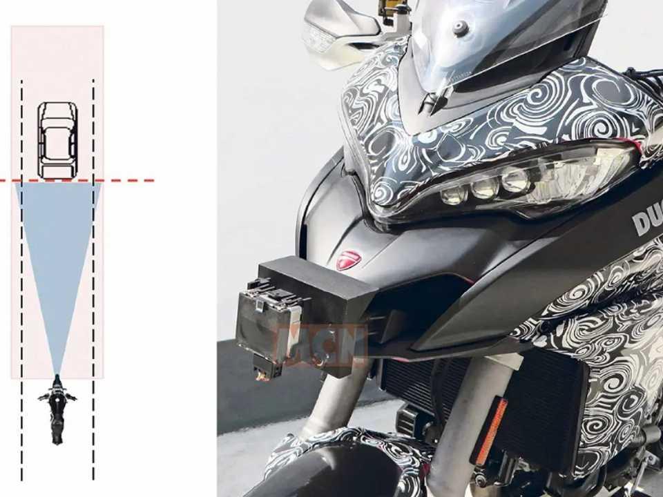 Flagra do site MCN revelando a tecnologia do piloto automático adaptativo avaliada pela Ducati