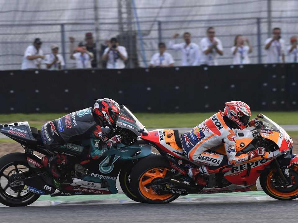 Marc Márquez e Fabio Quartararo em duelo no GP da Tailândia 2019