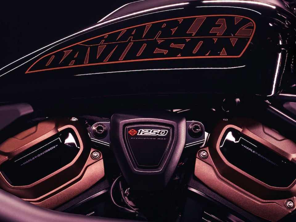 Imagem de teaser da nova moto da Harley-Davidson: motor Revolution Max