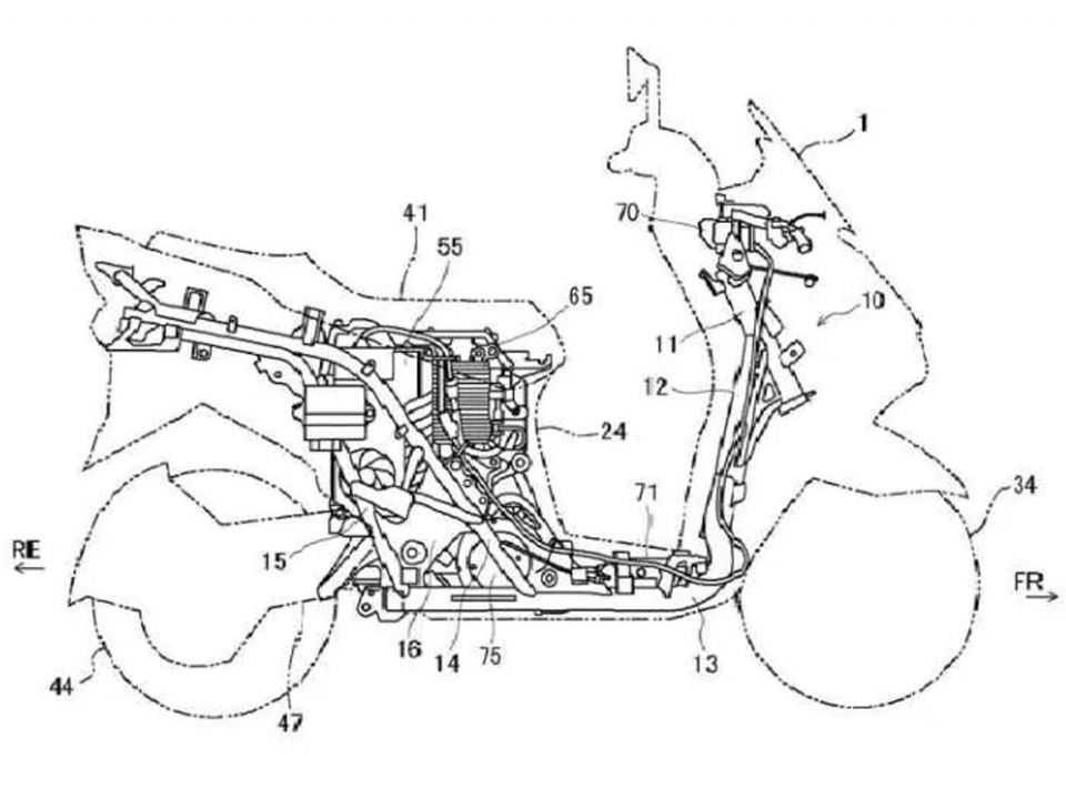 Imagem de patente da scooter elétrica da Suzuki
